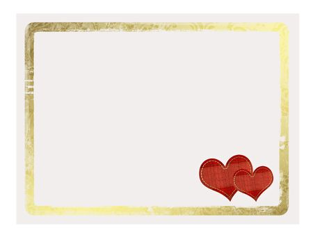 gold star mother's day: Valentines day card with hearts on the white isolated background