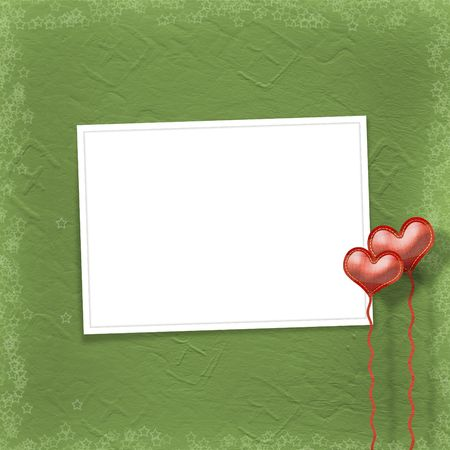 gold star mother's day: Valentines day card with hearts on the abstract green background Stock Photo