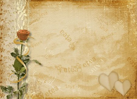 betrothal: Card for invitation or congratulation with rose and lace