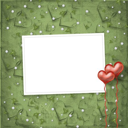 Valentines day card with hearts on the abstract green background Stock Photo - 6050884