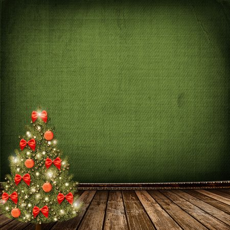abandoned warehouse: Card for congratulation. Christmas tree with balls and bows Stock Photo