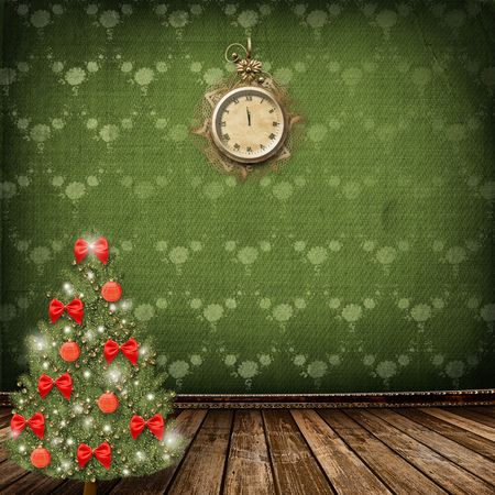 watch new year: Card for congratulation. Christmas tree with balls and bows Stock Photo