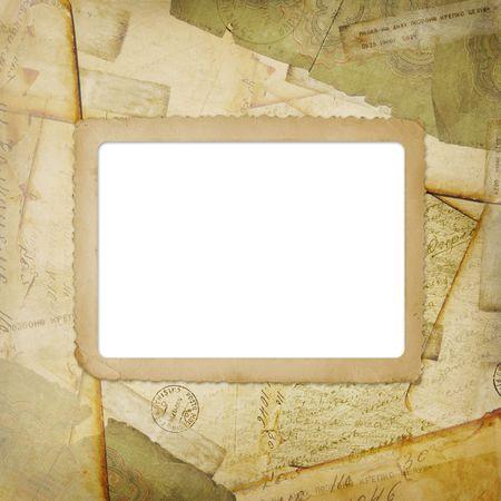 Vintage aged background, old Postcard and envelopes photo
