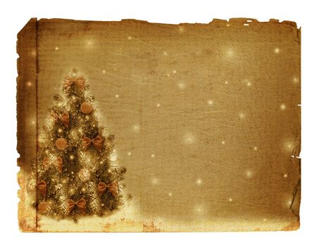 trumpery: Old card for congratulation. Christmas tree with balls and bows Stock Photo