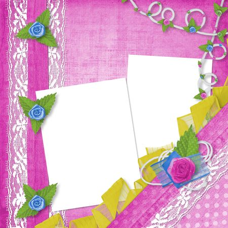 buttonhole: Card for invitation or congratulation with buttonhole and lace Stock Photo