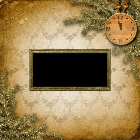 Antique clock face with and firtree on the abstract background Stock Photo - 6084378