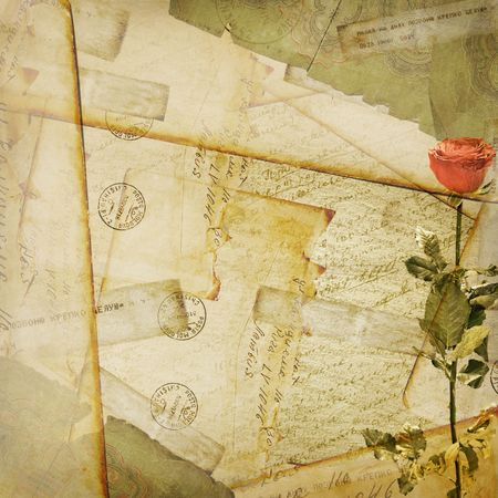 Vintage aged background, old Postcard, envelopes and rose photo