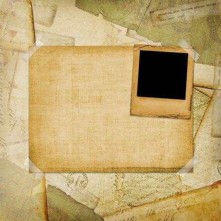 telegrama: Cosecha de a�os de fondo, viejas postales, sobres y diapositiva Foto de archivo