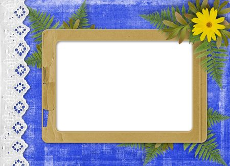 Paper frame with floral beautiful bouquet on the blue background Stock Photo