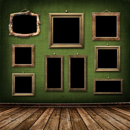 vignette: Vieil or images style victorien sur le mur de la salle
