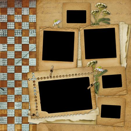 photo slide: Ancient  abstract background with frame and floral beautiful bouquet