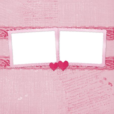rosy: Valentines day card with hearts for congratulation to holiday Stock Photo