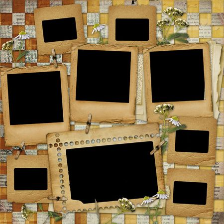 album page: Ancient  abstract background with frame and floral beautiful bouquet