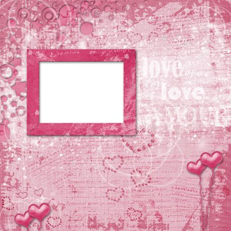 scratch card: Valentines day card with hearts for congratulation to holiday Stock Photo