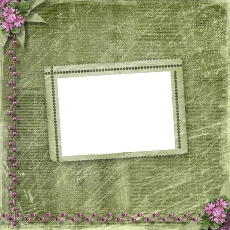 Postcard for invitation with old frame and floral branch Stock Photo - 6261649