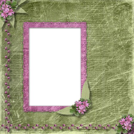 Postcard for invitation with old frame and floral branch Stock Photo - 6261668