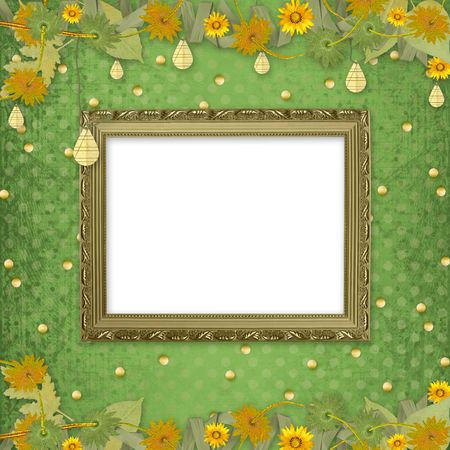 Wooden frame on the abstract background with bunch of flowers and streamers photo