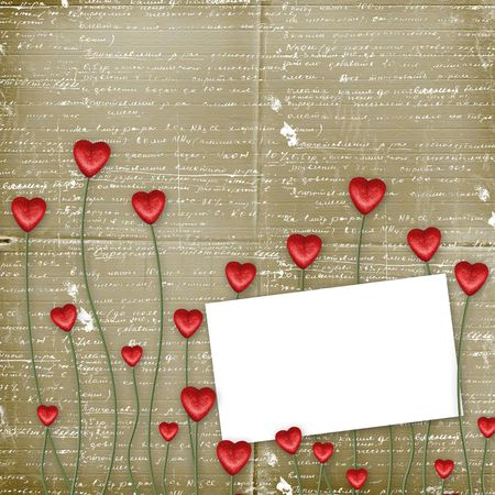 scratch card: Greeting Card to St. Valentines Day with hearts