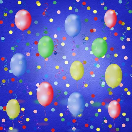 bright multicolored background  with balloons, streamers and confetti Stock Photo - 6317764