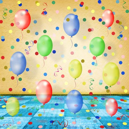 The dance room for the holidays with balloons, streamers and confetti Stock Photo - 6317697