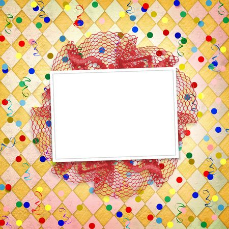 Frame for photos on the bright multicolored background with streamer and confetti photo