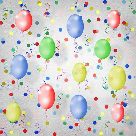 spangle: bright multicolored background  with balloons, streamers and confetti