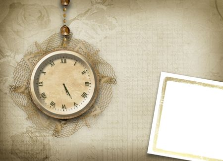 scratch card: Antique clock face with lace on the abstract background