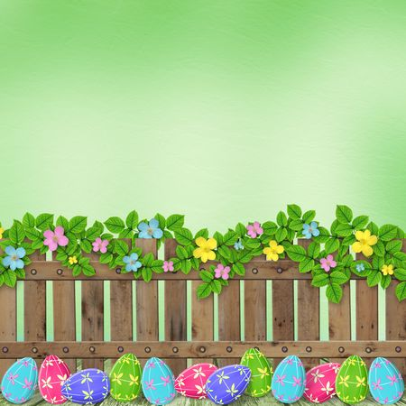 Pastel background with colored eggs to celebrate Easter