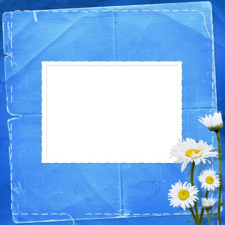 abloom: Lace frames with bunch of flower on the blue background Stock Photo