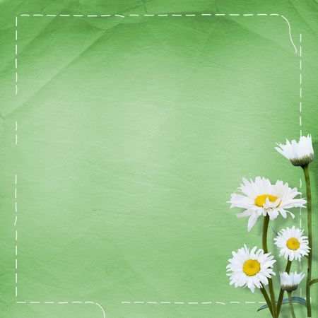 abloom: Old paper with bunch of flower on the green background
