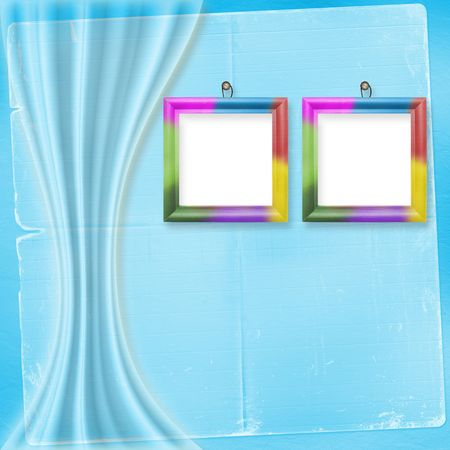 Two multicolored frames for photos on the bright background  photo