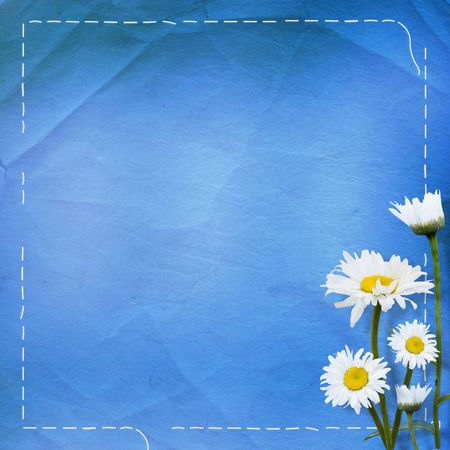 abloom: Old paper with bunch of flower on the blue background