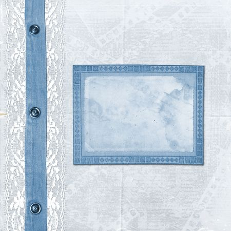 Blue album for photos with jeans and lace photo