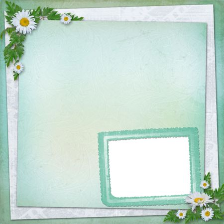 Grunge paper in scrapbooking style with bunch of daisy Stock Photo - 6505629