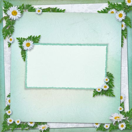 alienated: Grunge paper in scrapbooking style with bunch of daisy Stock Photo