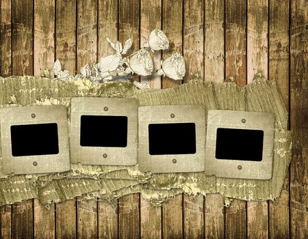 Old slides on the abstract wooden background Stock Photo - 6505787