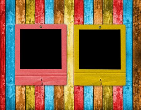 Old slides on the abstract wooden background Stock Photo - 6505782