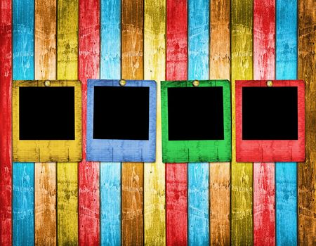 Old slides on the abstract wooden background Stock Photo - 6505785