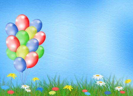 pastel colored: Bright multicolored background  with balloon and flowers Stock Photo