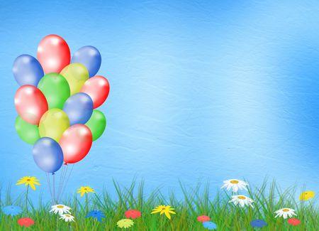 Heldere veelkleurige achtergrond met ballon en bloemen Stockfoto