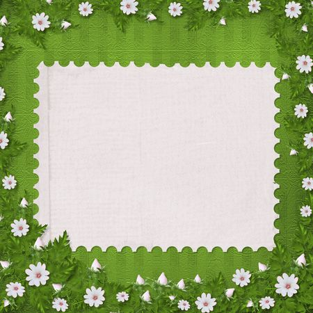 Grunge paper in scrapbooking style with bunch of flowers photo