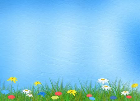 Bright multicolored background  with flowers and grass photo