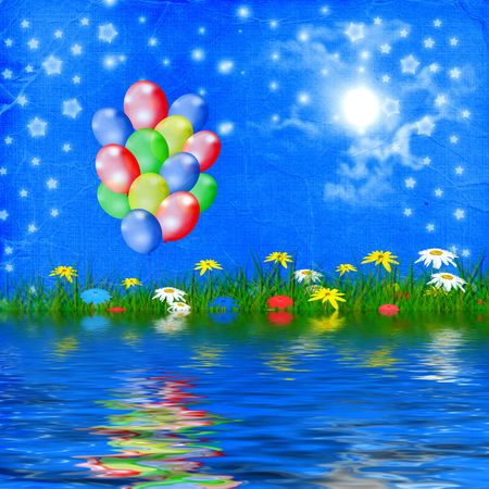 Bright multicolored background  with balloon and flowers Stock Photo