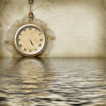 reverberation: Antique clock face reflected in the water Stock Photo
