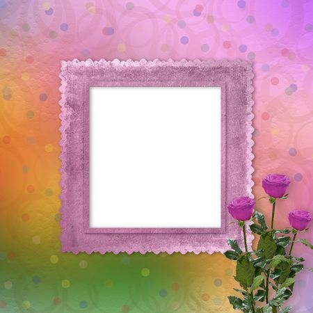 bright multicolored background  with roses, streamers and confetti Stock Photo - 6559550