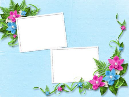 Frame for photo with blue and pink orchids Stock Photo - 6590922