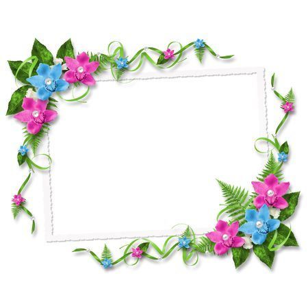 mother of pearl: Card for invitation or congratulation with blue and pink orchids
