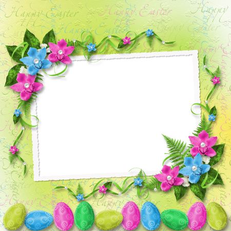 Pastel background with colored eggs and orchids to celebrate Easter photo