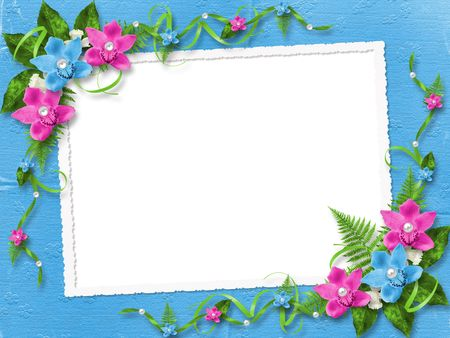 Frame for photo with blue and pink orchids photo
