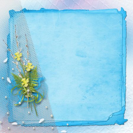 daffodils: Card for invitation or congratulation with bunch of willow and narcissus